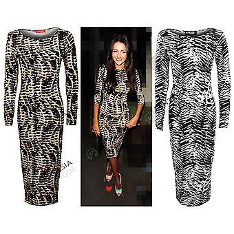 Neue Damen Celeb Stammes-Zebra Drucken in voller Länge Bodycon Damen Kleid