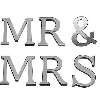 "TRIXES Mirrored 3D Word Wall Art ""Mr & Mrs"" Decoration  Wall Decal Murals"