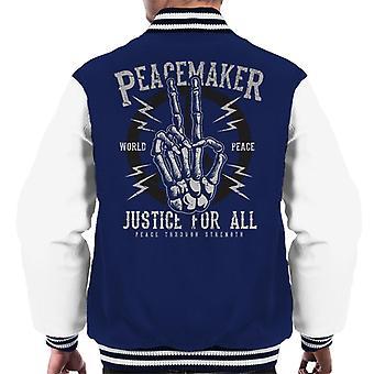 Peacemaker rättvisa för alla skelett Hand mäns Varsity jacka