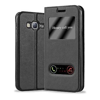Cadorabo Case for Samsung Galaxy J3 / J3 DUOS 2016 Case Cover - Phone Case with Magnetic Closure, Stand Function and 2 Viewing Windows - Case Cover Case Case Case Case Case Book Folding Style