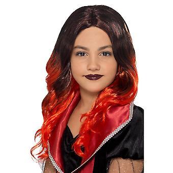 Bambini strega parrucca nera & rosso, costume di Halloween bambino, unica taglia