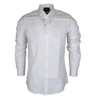 Cavalli Class Popeline Yuppie Soft Embroidered Slim Fit White Cotton Shirt