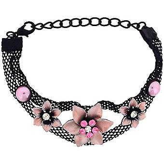 The Olivia Collection Girls - Ladies Black Mesh Bracelet with Pink Flowers FJ211
