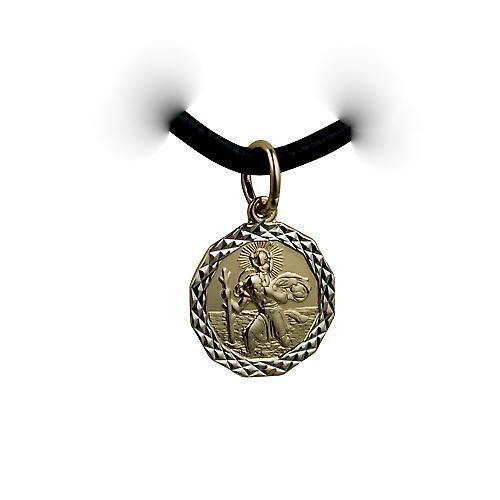 14ct yellow gold on Silver 1/20th 13x13mm dodecagonal diamond cut edge St Christopher Pendant with a Leather Pendant Cord