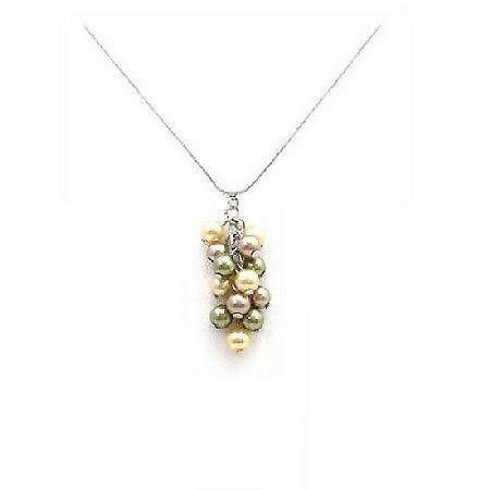 TriColor Swarovski Bronze Olive & Golden Pearls Grape Bunch Necklace