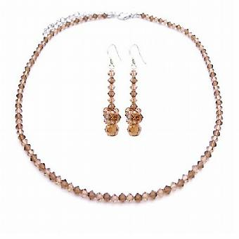 Lite & Dark Smoked Topaz Swarovski Crystals Necklace Set Jewelry Brown