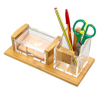 Woodquail Business Cards Holder, Pen Pot, Pensil Holder Made of Bamboo & Acrylic