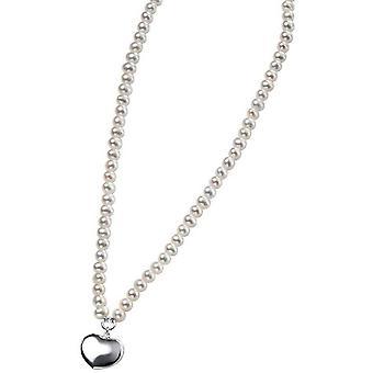 Débuts, perle d'eau douce et Puff collier coeur - clair/argent