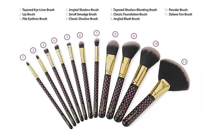 12 Make Up Brushes Cup Sets - 2-Colour Polka Dot Pink Synthetic Hair Gold Aluminium Ferrule Natural Wood Handle Leather Cup