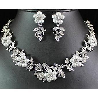 Fashion Silver Plated Flowers Crystal Bridal Rhinestone Pearl Necklace Stud Earrings Set
