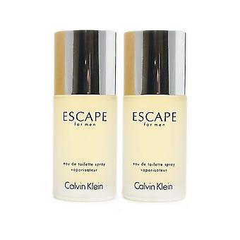Calvin Klein ontsnappen voor mannen Eau de Toilette Spray 50ml Duo Pack