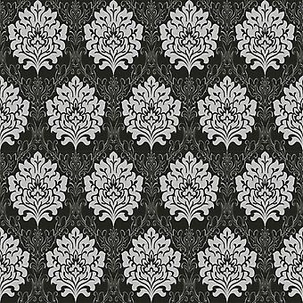 Damask Wallpaper Black Grey Silver Metallic Fabric Effect Embossed Textured
