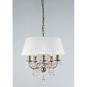 Olivia Pendant With White Shade 5 Light Antique Brass/crystal