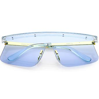Futuristic Rimless Shield Sunglasses With Color Tinted Lenses