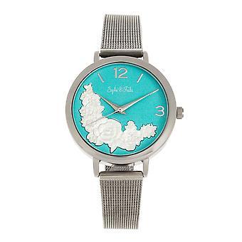 Sophie and Freda Lexington Bracelet Watch - Silver/Turquoise
