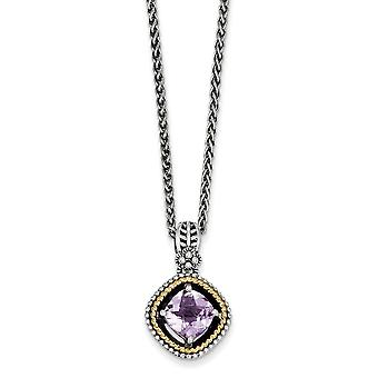 925 Sterling Silver Polished Prong set Antique finish Lobster Claw Closure With 14k 2.10Pink Amethyst 18inch Necklace