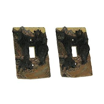 Rustic Black Bear Family Wall Plate Light Switch Cover Set of 2