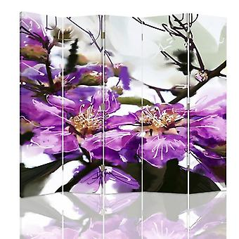 Room Divider, 5 Panels, Double-Sided, 360 ° Rotatable, Canvas, Purple Flower 2