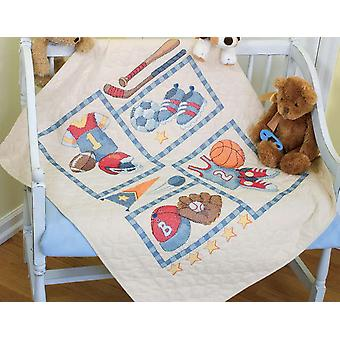 Baby Hugs Little Sports Quilt Stamped Cross Stitch Kit 34
