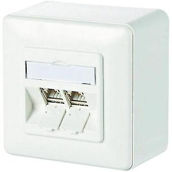 Network outlet Surface-mount CAT 6A 2 ports Metz Connect Pure white