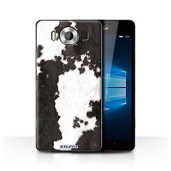 STUFF4 Case/Cover for Microsoft Lumia 950/Cow/Black/Animal Fur Pattern