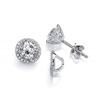 Cavendish French Cubic Zirconia Solitaire Earrings with Jacket