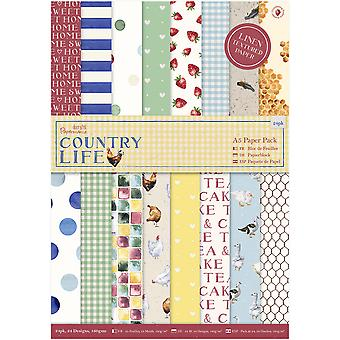Papermania A5 Paper Pack 24/Pkg-Country Life, Linen Finish PM160248