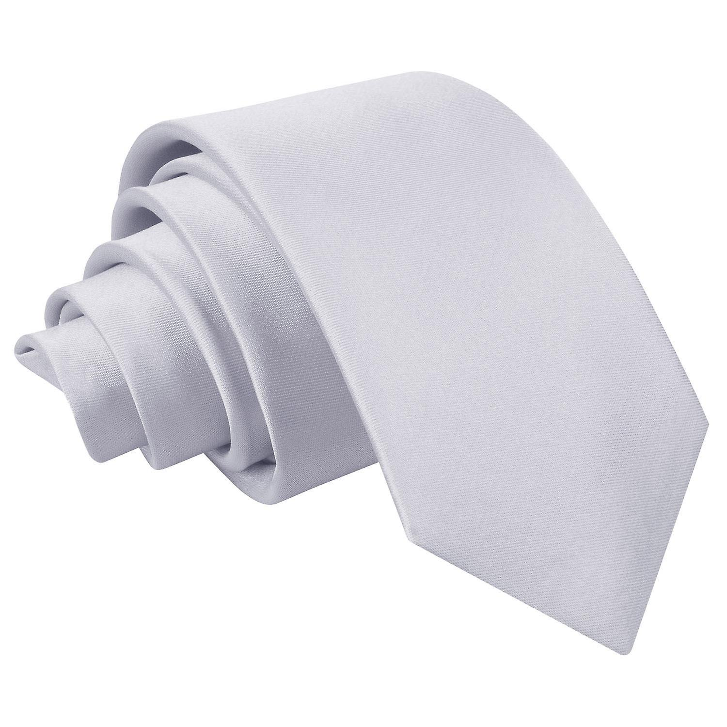 Plain Silver Satin Slim Tie
