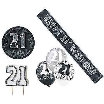 21st Birtday Decoration Pack BALLOONS BANNER CANDLE BADGE Party Decoration Black