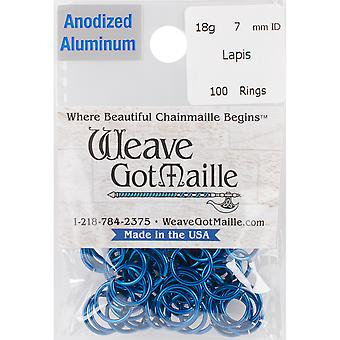 Anodized Aluminum Jumprings 7mm 100/Pkg-Blue HPAA18A7-LAPIS