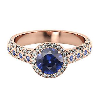 Blue Sapphire 2.50 ctw Ring with Diamonds 14K Rose Gold Vintage Micro Pave Halo