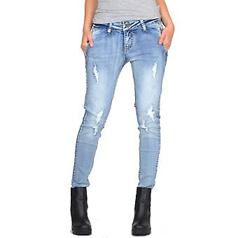 Slim Skinny Faded Ripped Stretch Jeans - Light Blue