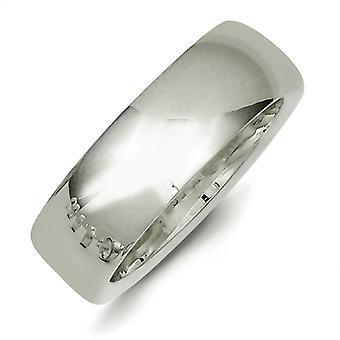 彫刻用 7 mm 慰めを洗練されたスターリングシルバー固体フィット バンド リング - 指輪のサイズ: 13.5 4