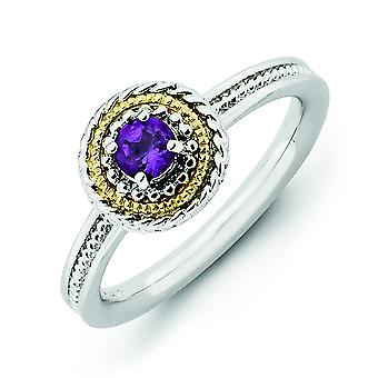 2.25mm Sterling Silver and 14k Stackable Expressions Sterling Silver Amethyst Ring - Ring Size: 5 to 10