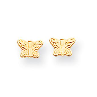 14 k Gold poliert Butterfly Screwback Ohrringe -.3 g - Maßnahmen 4x6mm