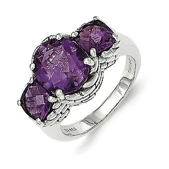 Sterling Silver Amethyst Ring - Ring Size: 6 to 8