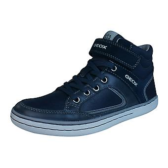 Geox Garcia B Boys Waxed Leather Hi Top Trainers / Shoes - Navy
