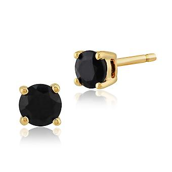 Gemondo Dark Blue Sapphire Round Stud Earrings In 9ct Yellow Gold 3.50mm