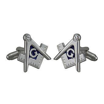 Masonic kompasu i kwadratowych polerowanego srebra wykończenia spinki do mankietów