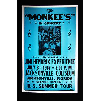 The Monkee's with Jimi Hendrix Experience Special Guest retro concert poster