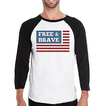 Свободной от & храбрый нас флаг Мужская черная реглан майка хлопок Crewneck