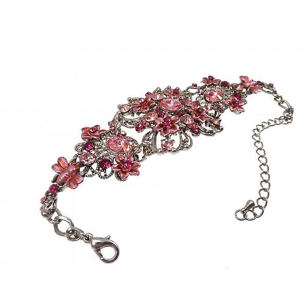 W.A.T Silver Style Pink Crystal Vintage Style Flower Bracelet