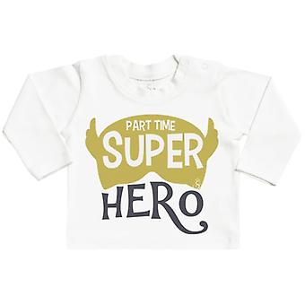 Verwend rotte part-time superheld lange mouw Baby T-Shirt Top