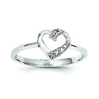 Sterling Silver Open back Cut-out sides Rhodium-plated Rhodium Polished Diamond Heart Ring - Ring Size: 6 to 8