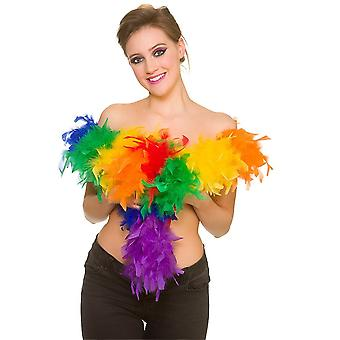 Adults Unisex Rainbow Gay Pride Feather Boa Fancy Dress Accessory