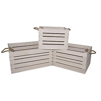 SET OF 3 RUSTIC WHITE WOODEN CRATES HOME KITCHEN GARDEN DECORATION STORAGE