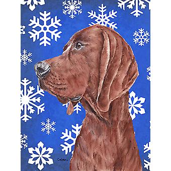 Redbone Coonhound Winter Snowflakes Flag Canvas House Size