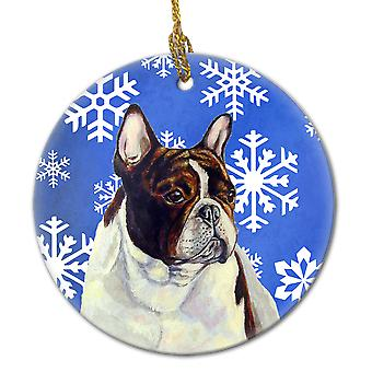 French Bulldog Winter Snowflake Holiday Ceramic Ornament LH9292