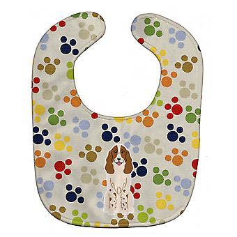 Carolines schatten BB5860BIB Pawprints Russische Spaniel Baby slabbetje