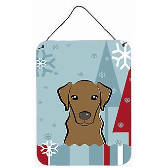 Winter vakantie chocolade Labrador muur of deur hangen Prints